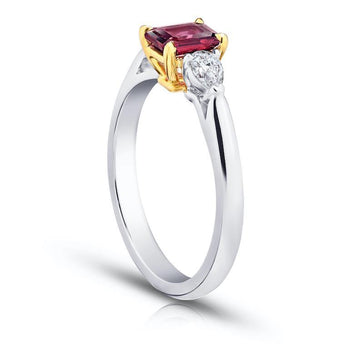 .77 Carat Emerald Cut Red Ruby and Diamond Ring - David Gross Group