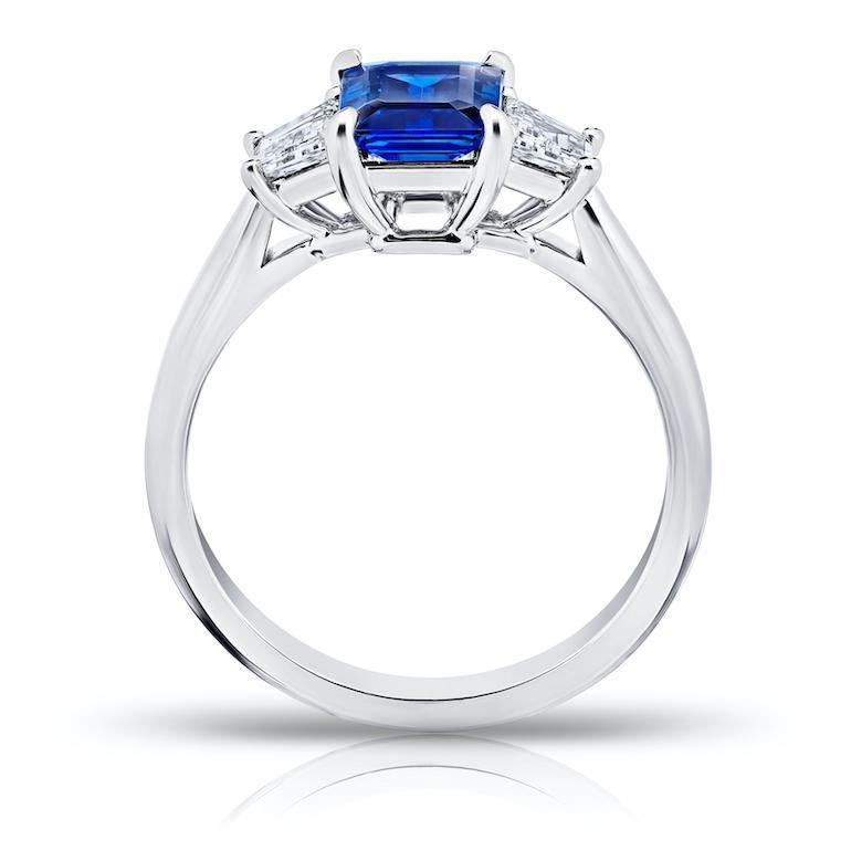 1.49 Carat Emerald Cut Blue Sapphire and Diamond Ring - David Gross Group
