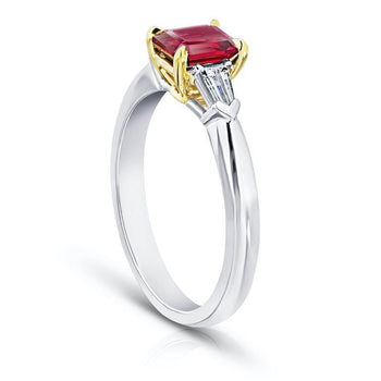 1.03 carat Emerald Cut Red Ruby and Diamond Ring - David Gross Group