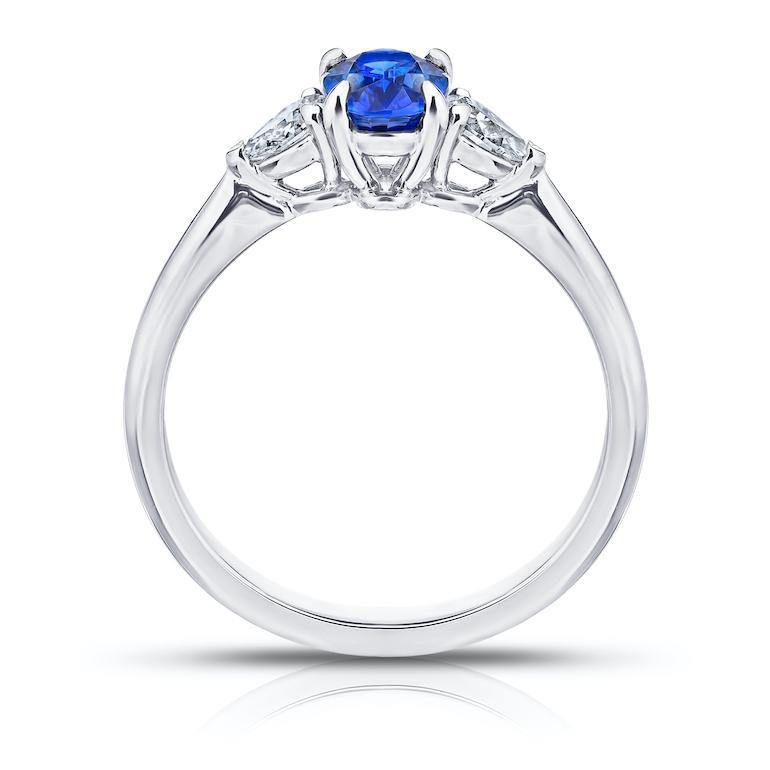 1.08 Carat Oval Blue Sapphire and Diamond Ring - David Gross Group
