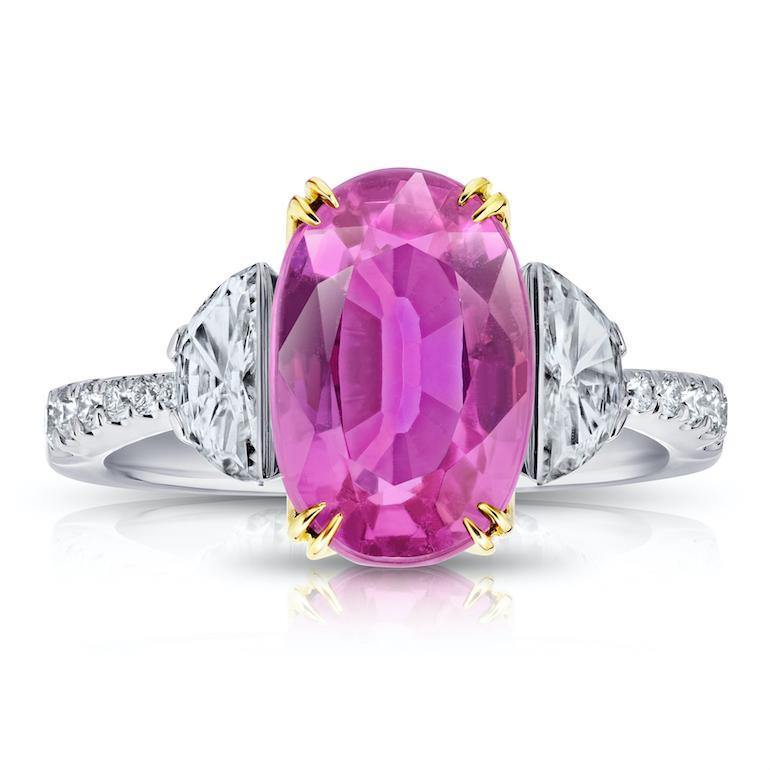 5.20 carat Oval Pink Sapphire and Diamond Ring - David Gross Group