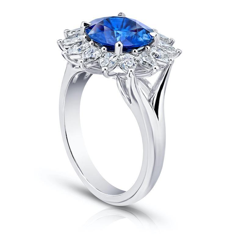 3.40 Carat Round Blue Sapphire and Diamond Ring - David Gross Group