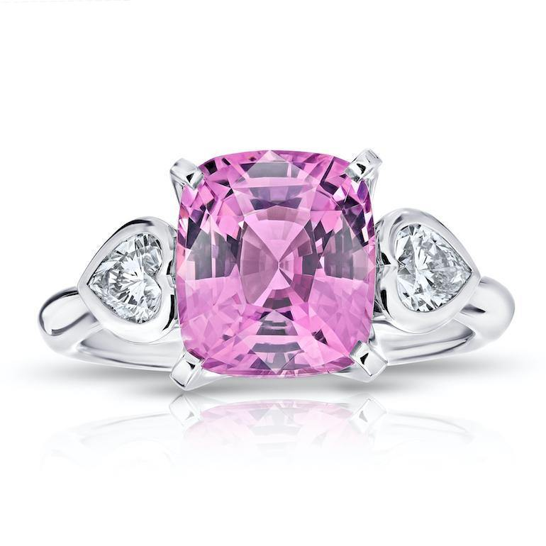 4.11 Carat Cushion Pink Spinel and Diamond Ring - David Gross Group