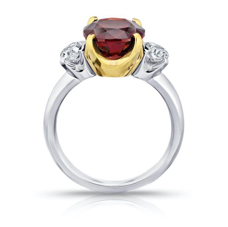 5.19 Carat Cushion Red Spinel and Diamond Ring - David Gross Group
