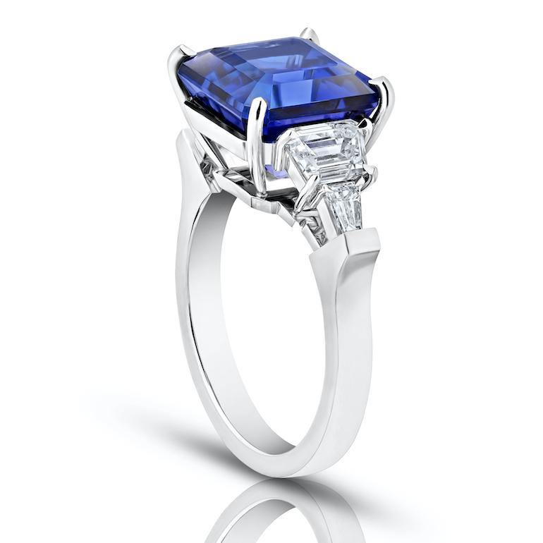 7.25 Carat Asscher Cut Blue Tanzanite and Diamond Ring - David Gross Group