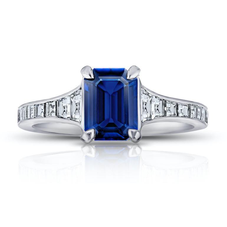 1.41 Carat Emerald Cut Blue Sapphire and Diamond Ring - David Gross Group