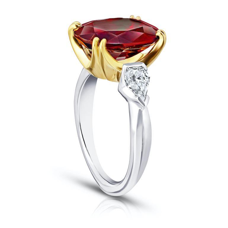 6.66 carat Oval Red Spinel and Diamond Ring - David Gross Group