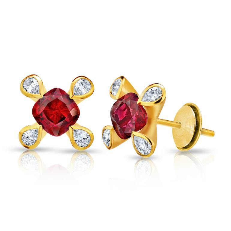 1.08 Carat Cushion Red Ruby and Diamond Earrings - David Gross Group