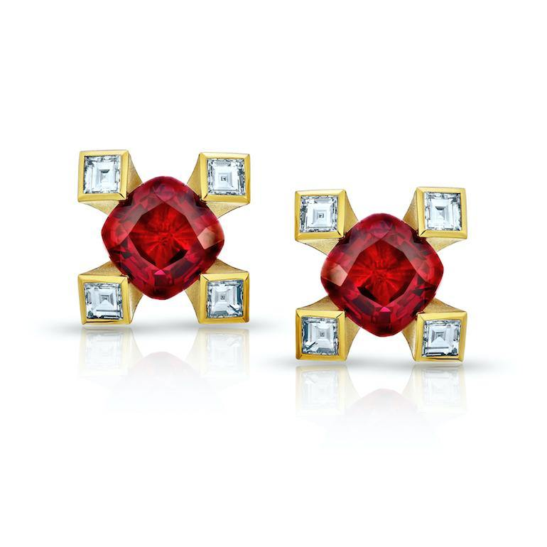 1.12 Carat Cushion Red Ruby and Diamond Earrings - David Gross Group