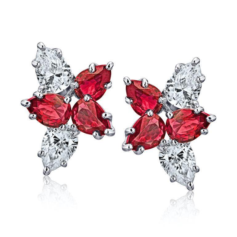 2.55 Carat Pear Shape Red Ruby and Diamond Cluster Earrings - David Gross Group