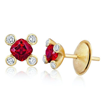 .90 Carat Cushion Red Ruby and Diamond Earrings - David Gross Group