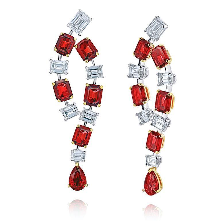 Emerald Cut Ruby and Diamond Earrings - David Gross Group