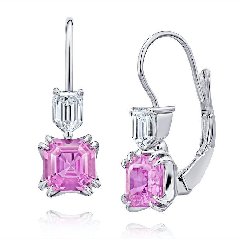 1.98 Carat Emerald Cut Pink Sapphire and Diamond Earrings - David Gross Group