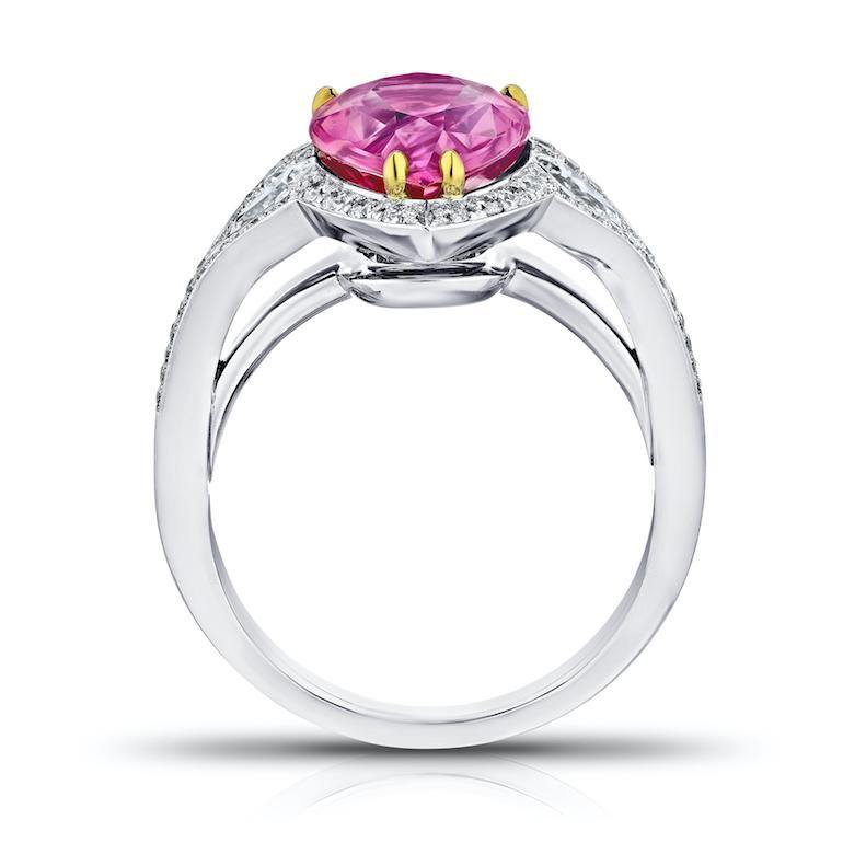 4.97 Carat Pear Shape Pink Sapphire and Diamond Ring - David Gross Group