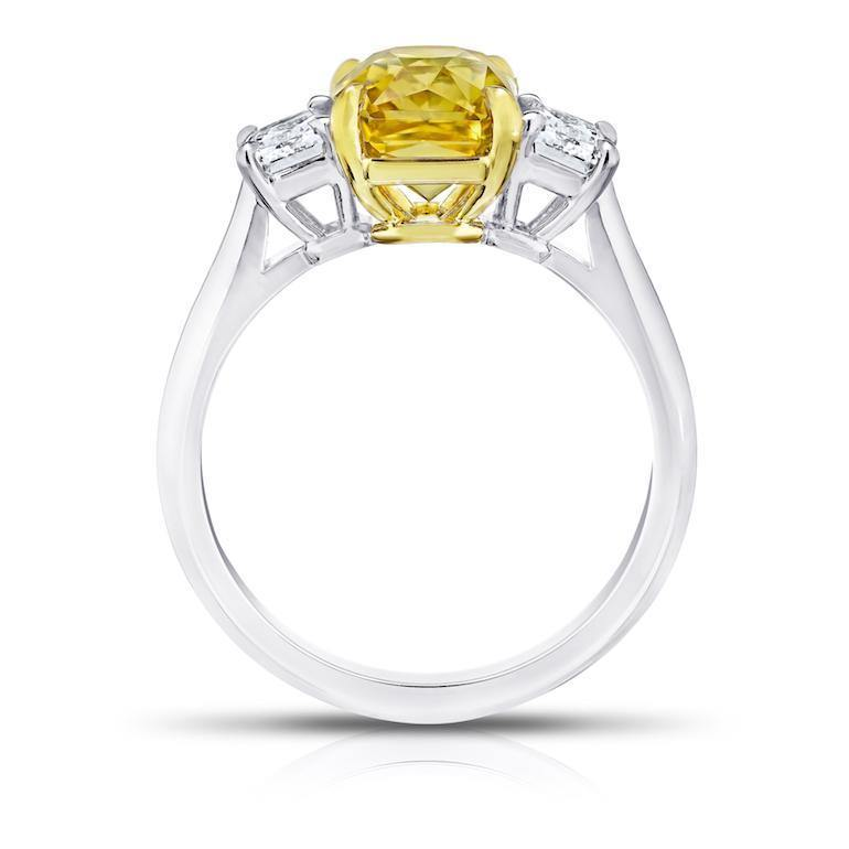 4.07 Carat Radiant Cut Yellow Sapphire Ring - David Gross Group