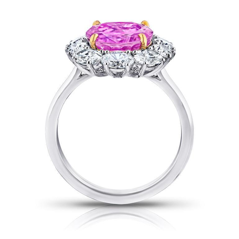 5.97 Carat Oval Pink Sapphire and Diamond Ring - David Gross Group