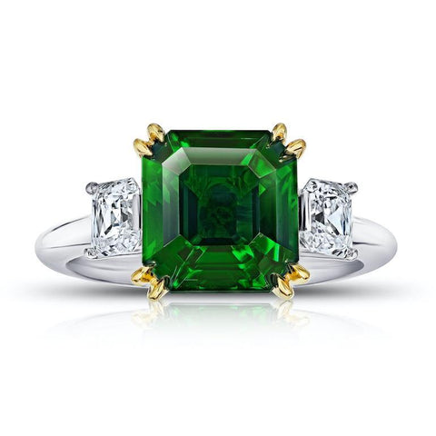 3.80 Carat Emerald Cut Yellow Sapphire and Diamond Ring