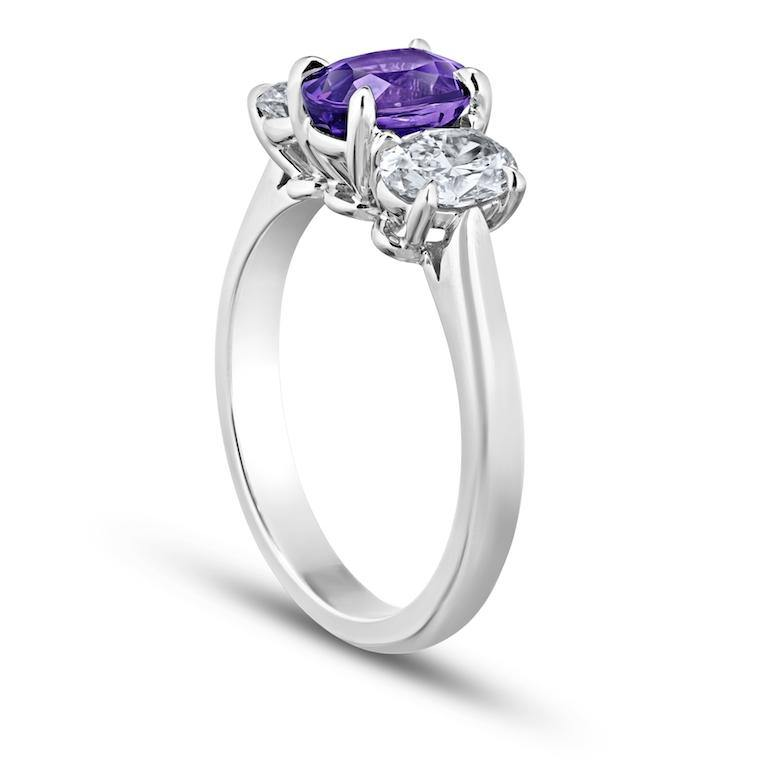 1.78 Carat Oval Purple Sapphire and Diamond Ring - David Gross Group