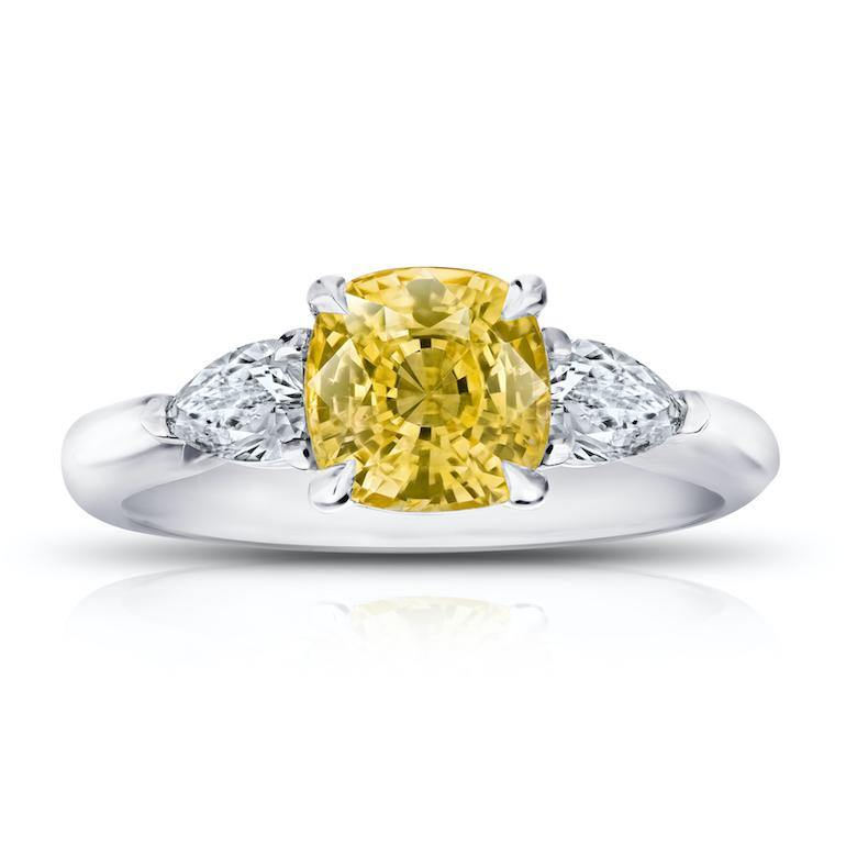 2.36 Carat Cushion Yellow Sapphire and Diamond Ring - David Gross Group