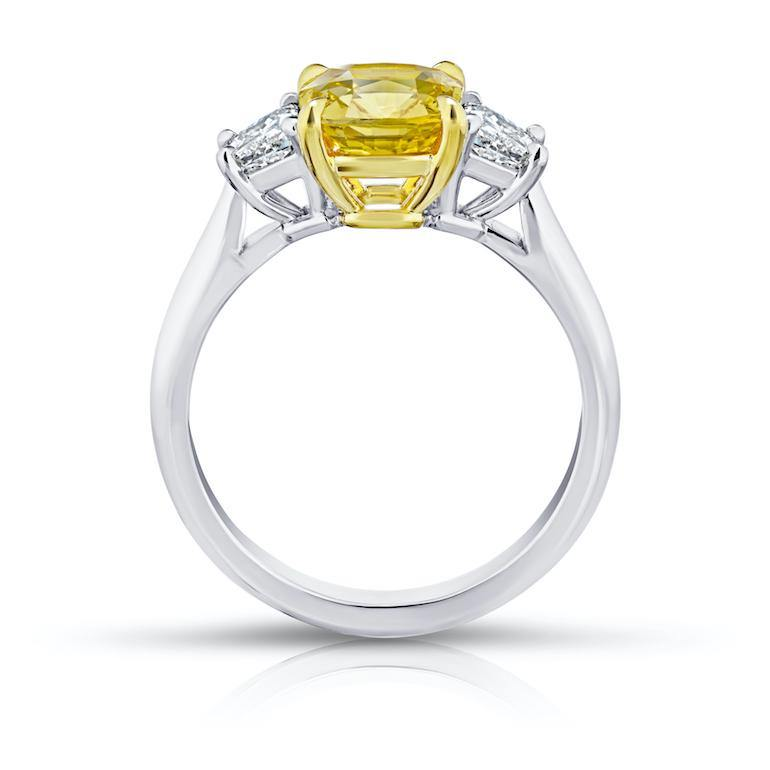 2.59 Carat Cushion Yellow Sapphire and Diamond Ring - David Gross Group