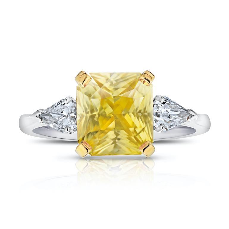 4.52 Carat Yellow Radiant Cut Sapphire and Diamond Ring - David Gross Group