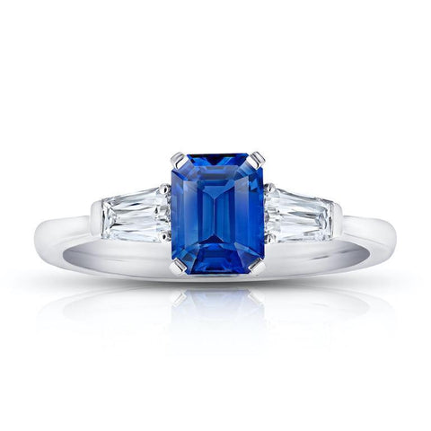 2.83 Carat Emerald Cut Blue Sapphire and Diamond ring