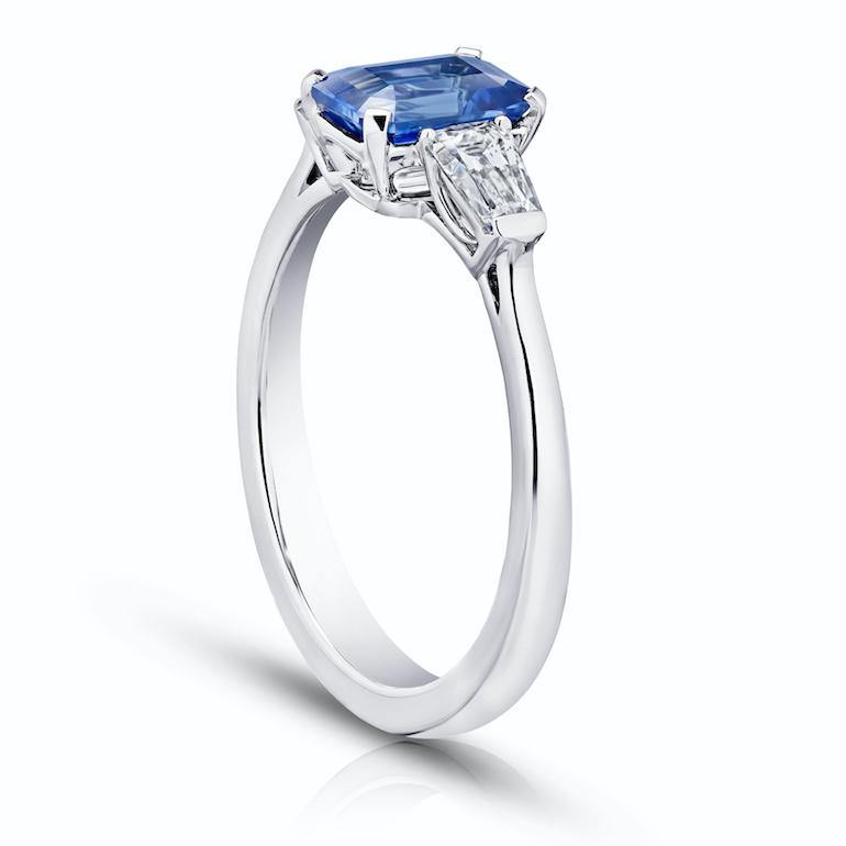 1.34 Carat Emerald Cut Blue Sapphire and Diamond Ring - David Gross Group