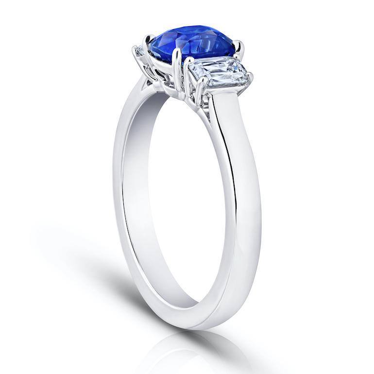 1.76 Carat Cushion Blue Sapphire and Diamond Ring - David Gross Group