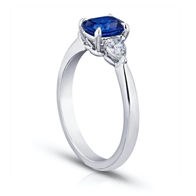 1.16 Carat Cushion Blue Sapphire and Diamond Ring - David Gross Group