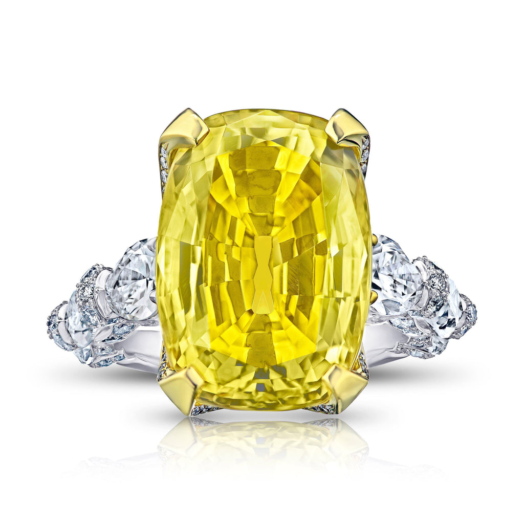 20.26 Carat Yellow Cushion Sapphire and Diamond Ring - David Gross Group