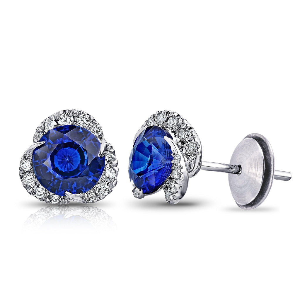 3.30 Carat Round Blue Sapphire and Diamond Halo Platinum Earrings - David Gross Group