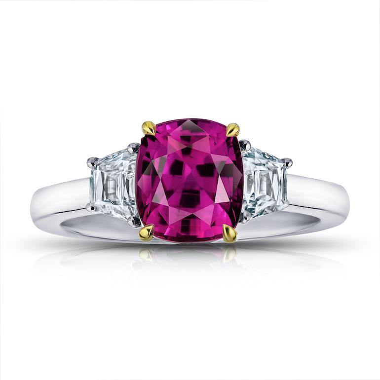 3.18 Carat Red Cushion Ruby and Diamond Ring - David Gross Group