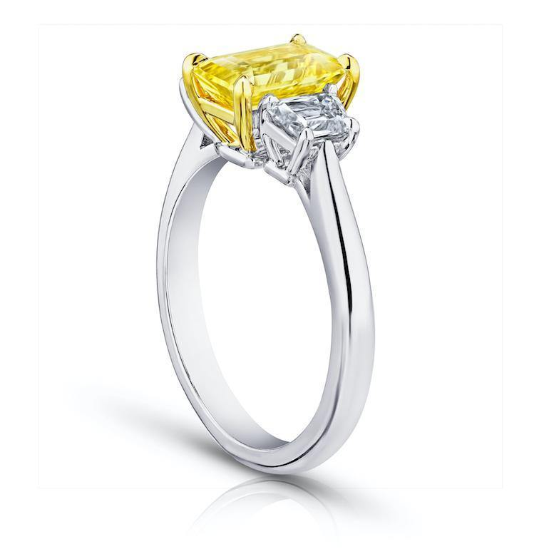 2.05 Carat Emerald Cut Yellow Sapphire and Diamond Ring - David Gross Group