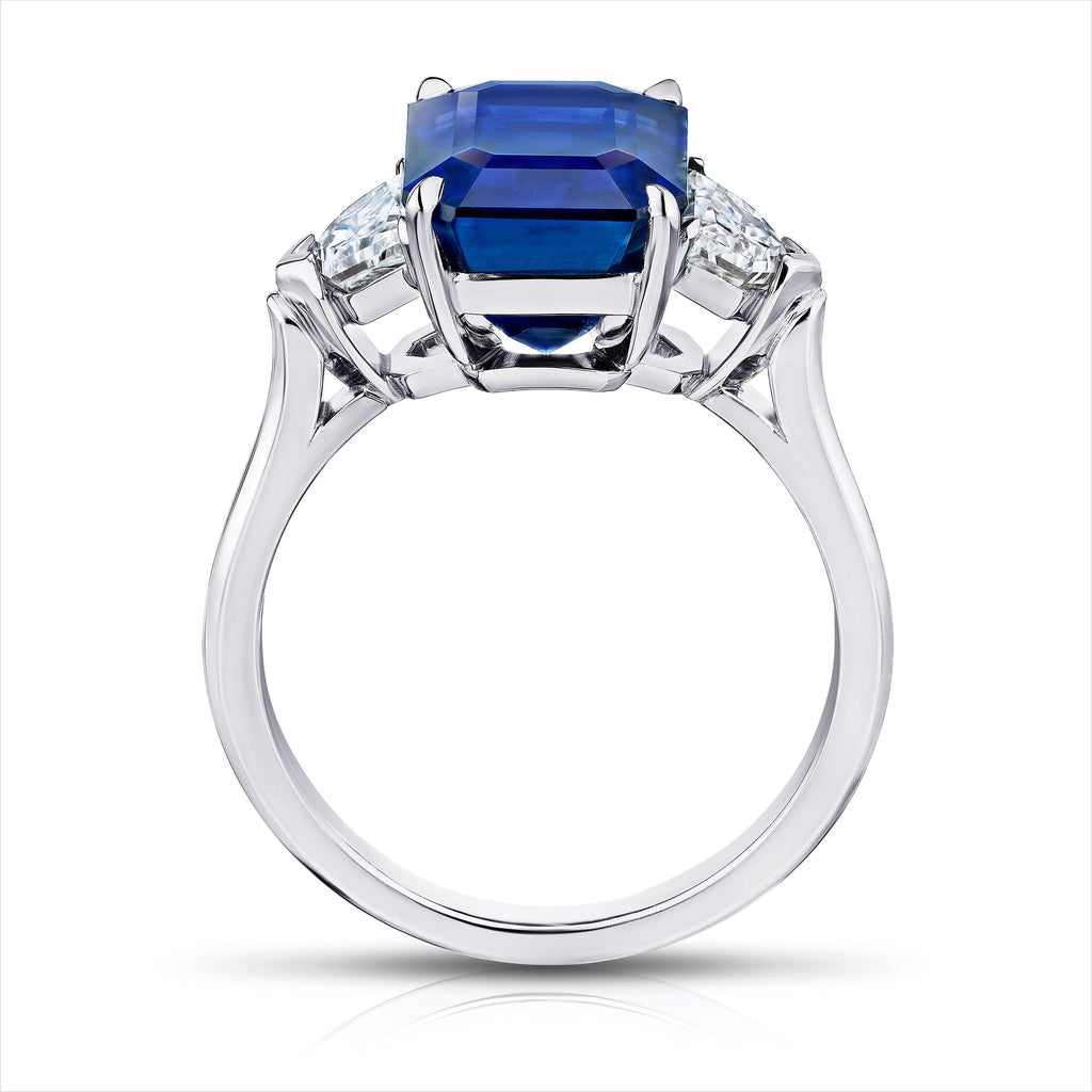 6.30 Carat Emerald cut Blue Sapphire and Diamond Ring - David Gross Group