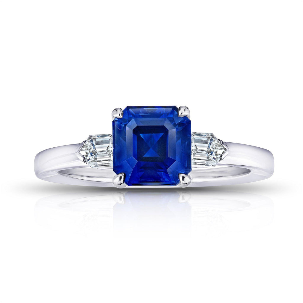 2.83 Carat Emerald Cut Blue Sapphire and Diamond ring - David Gross Group