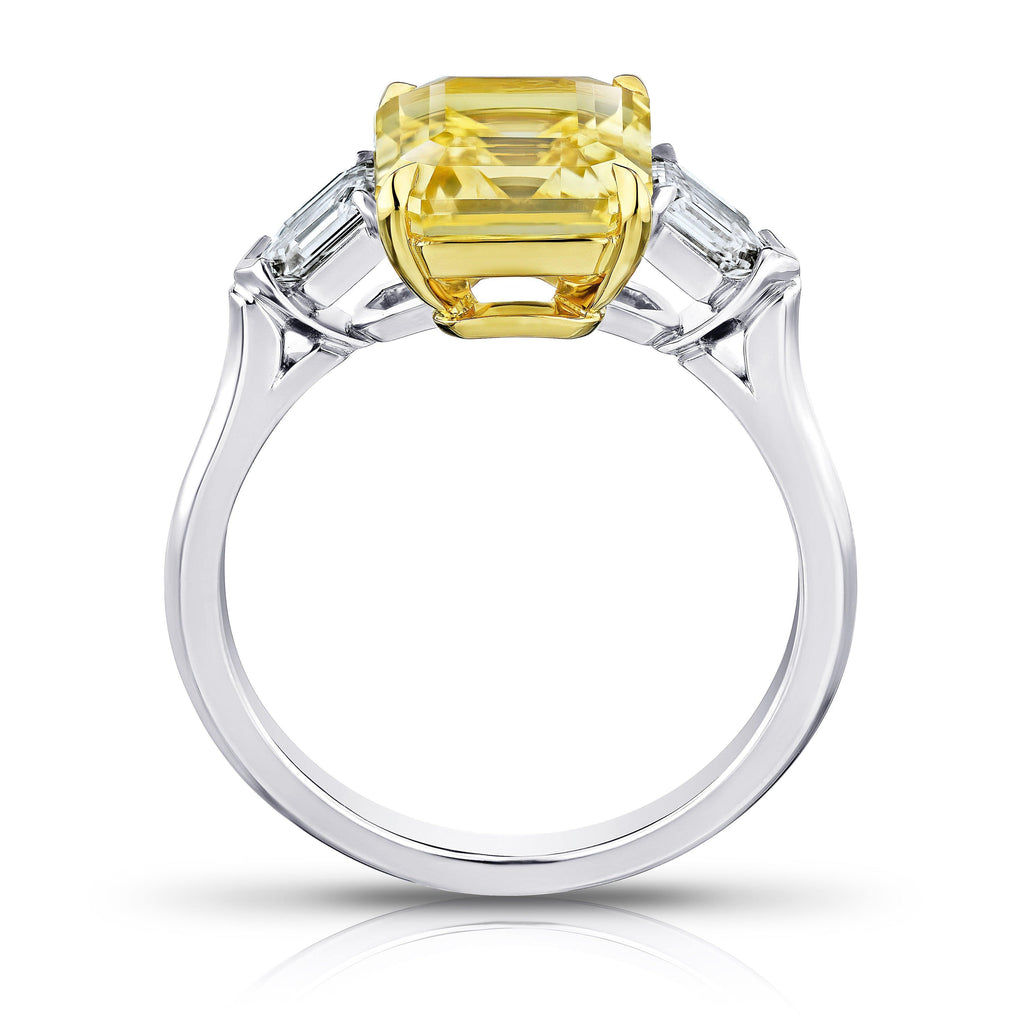 3.80 Carat Emerald Cut Yellow Sapphire and Diamond Ring - David Gross Group