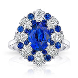 3.11 Carat Oval Blue Sapphire and Diamond Ring - David Gross Group