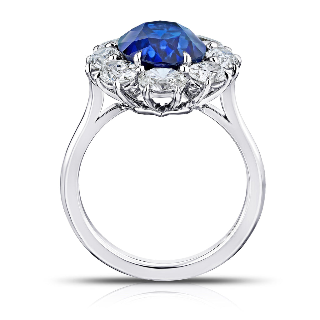 5.73 Carat Oval Blue Sapphire and Diamond Ring - David Gross Group