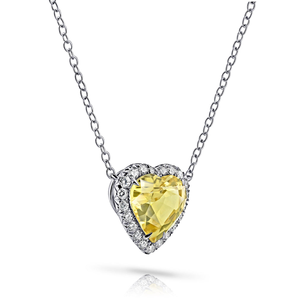 4.89 Carat Heart Shape Yellow Sapphire and Diamond Pendant - David Gross Group