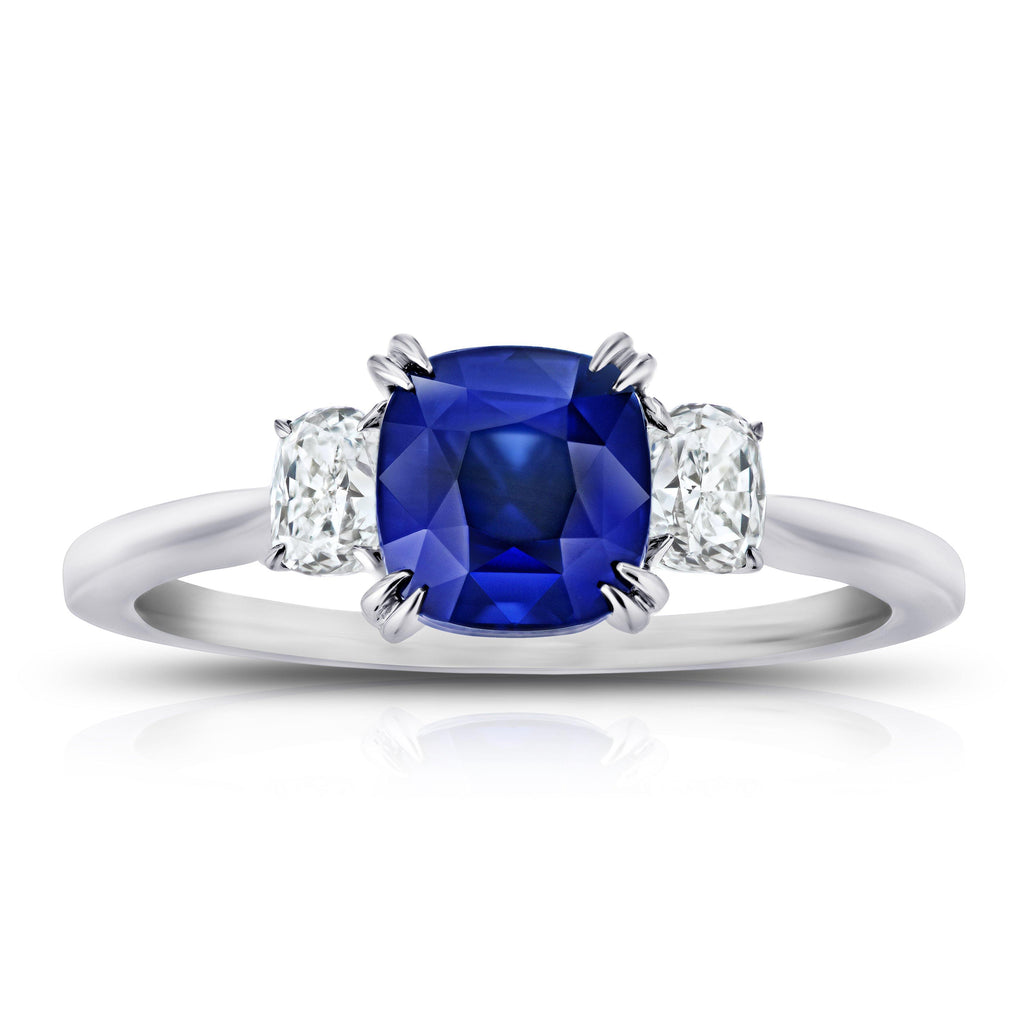 2.11 Carat Cushion Blue Sapphire and Diamond Ring - David Gross Group