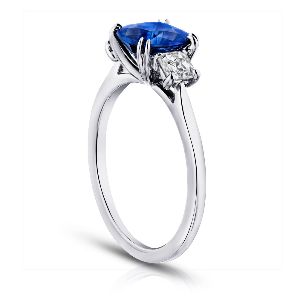 2.02 Carat Cushion Blue Sapphire and Diamond Ring - David Gross Group