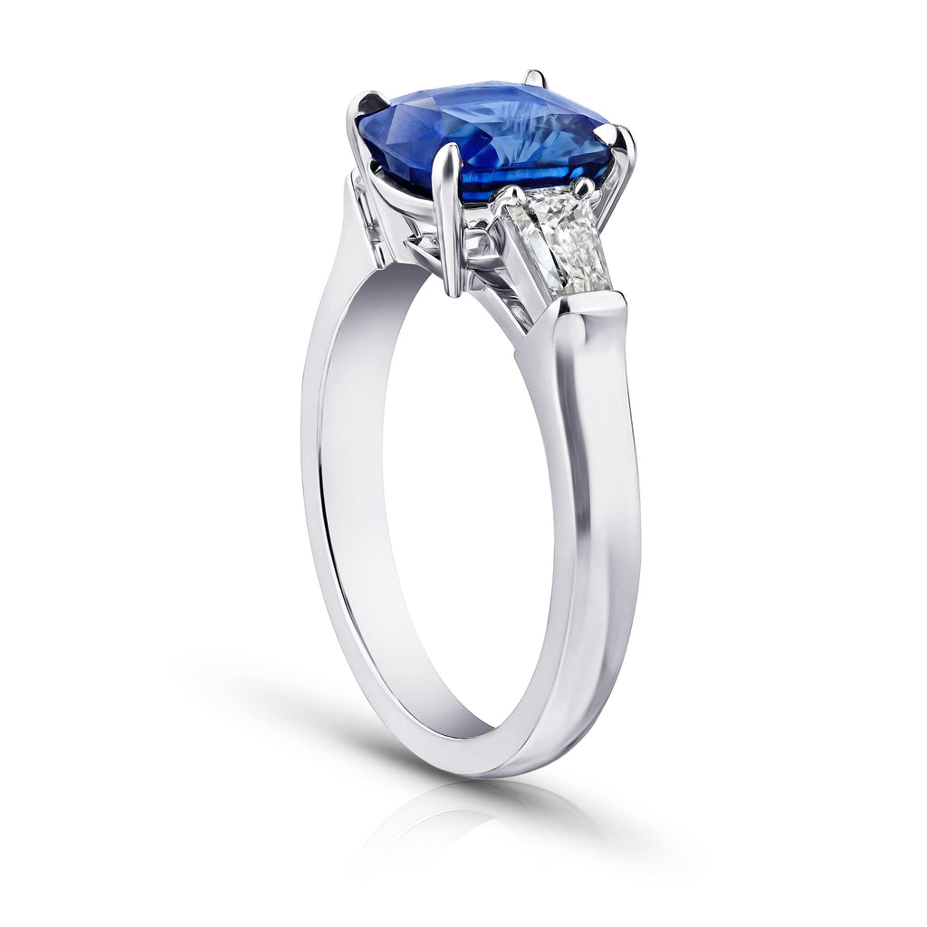 3.02 Carat Cushion Blue Sapphire and Diamond Ring - David Gross Group