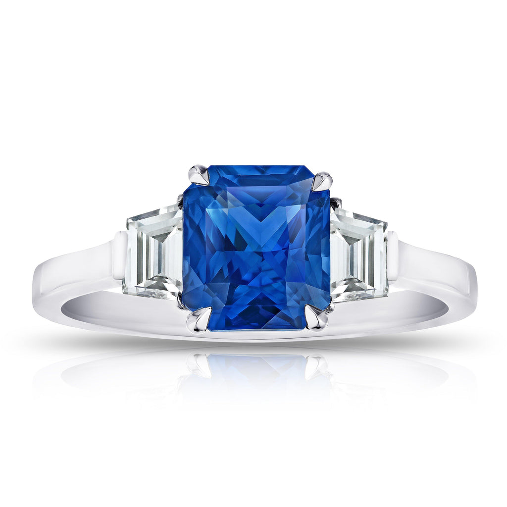 2.12 Carat Radiant Cut Blue Sapphire and Diamond Ring - David Gross Group
