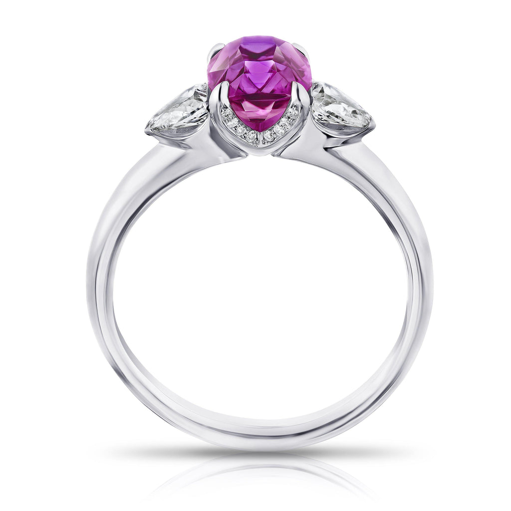 2.05 Carat Cushion Pink Sapphire and Diamond Ring - David Gross Group