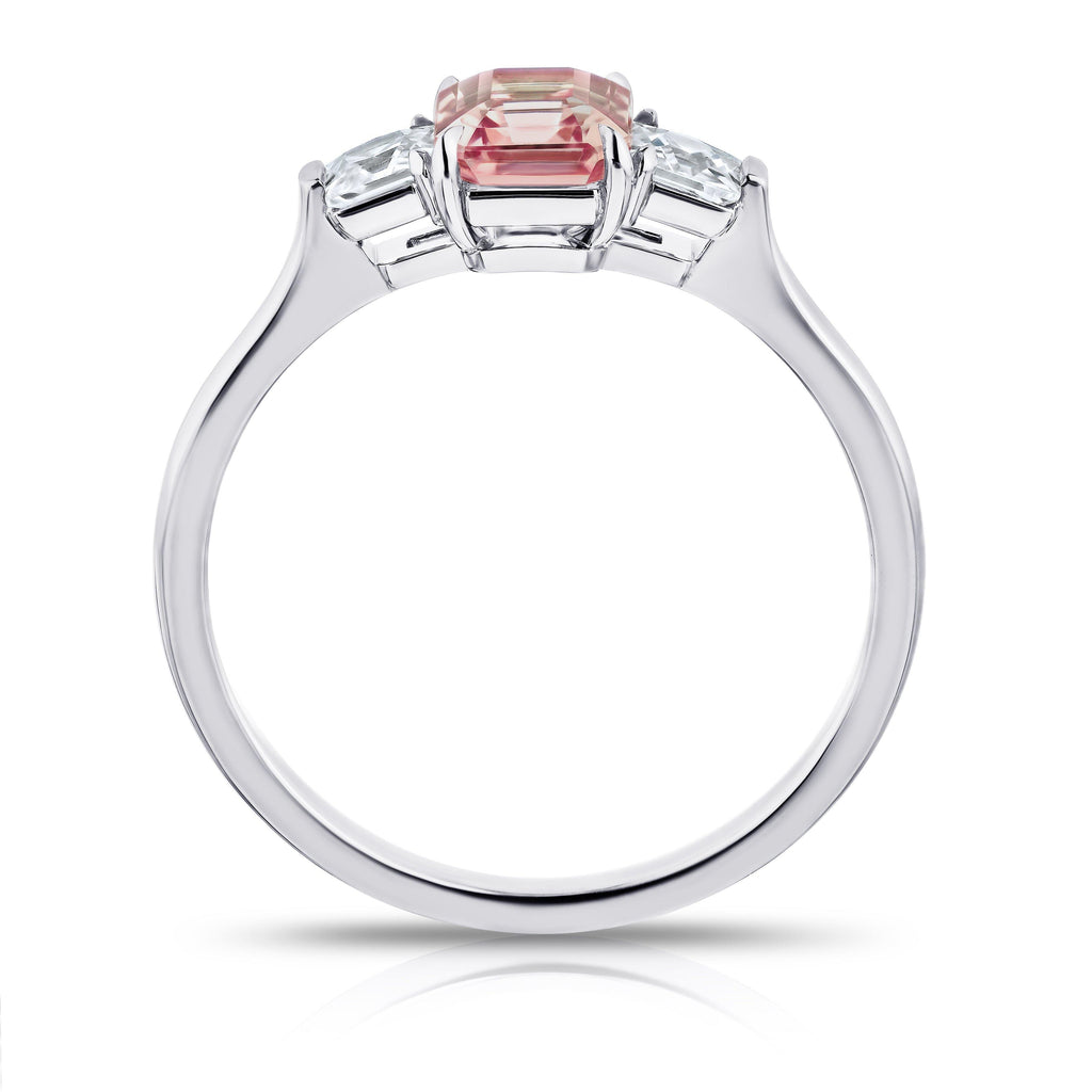 1.13 Carat EC Padparadscha Sapphire and Diamond Ring - David Gross Group