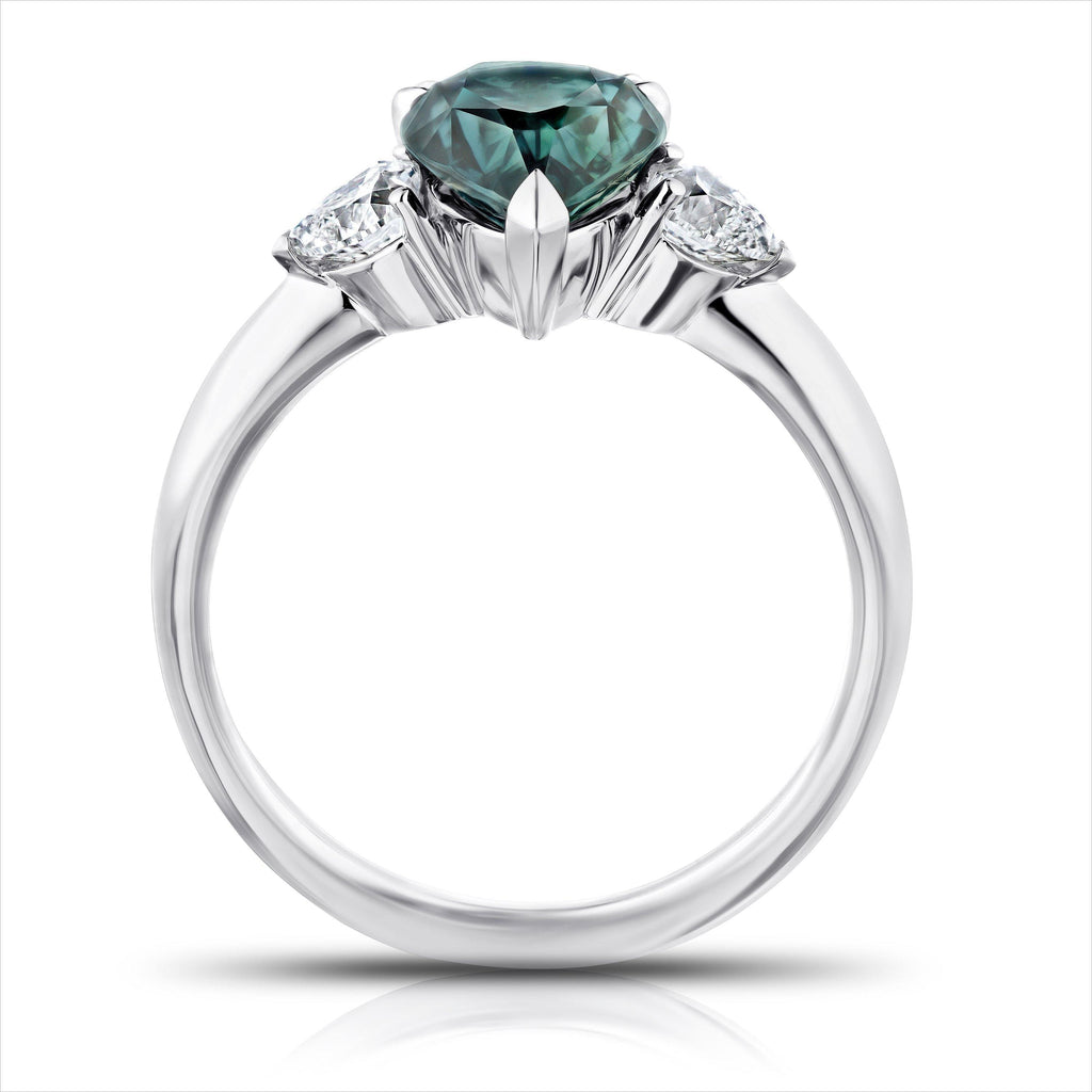 2.43 Carat Pear Shape Bluish Green Sapphire and Diamond Ring - David Gross Group
