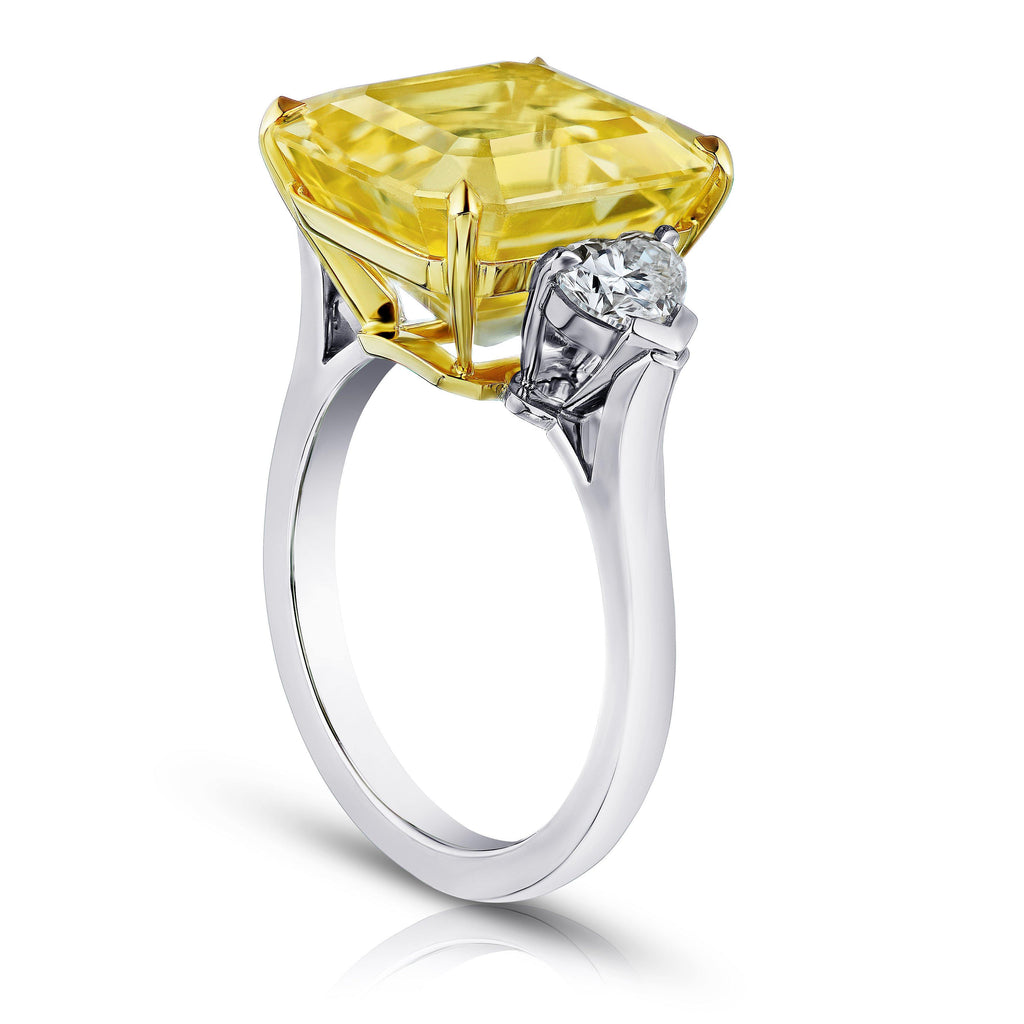 13.28 Carat Emerald Cut Yellow Sapphire and Diamond Ring - David Gross Group