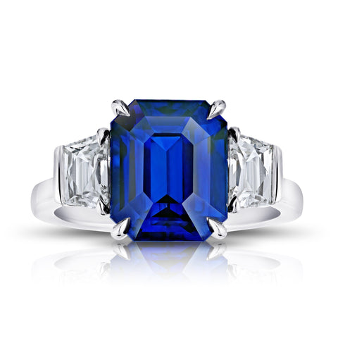 1.16 Carat Cushion Blue Sapphire and Diamond Ring
