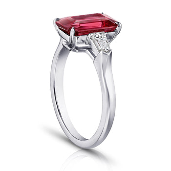 3.28 Carat Emerald Cut Red Spinel and Diamond Ring - David Gross Group