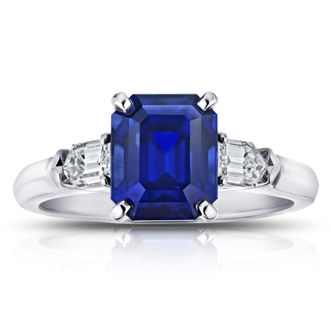 9.81 Carat Cushion Blue Sapphire and Diamond Ring